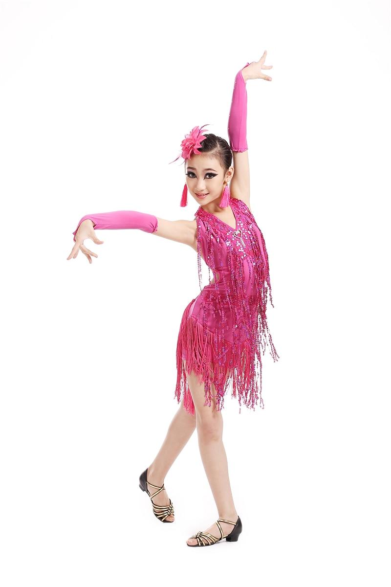 The New 2016 Girls tassel Latin Dance Dress Spandex Halter Rhinestone Latin Dance Dress Ballroom Dance Dress Performance cloths