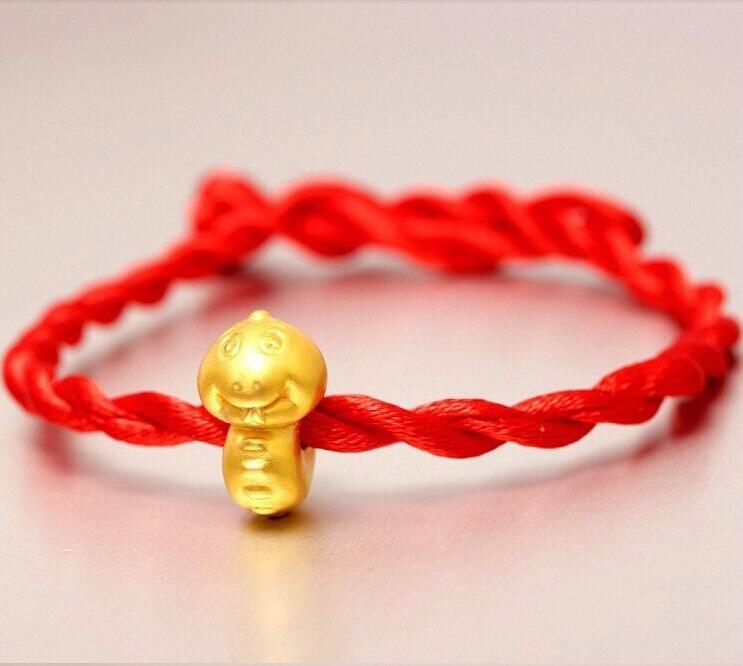 Moda llegada 3D 999 24K oro amarillo 12 zodíaco chino bonita serpiente brazalete tejido