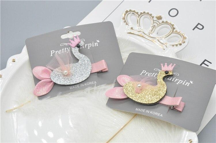 Boutique 10 piezas de moda lindo brillo Tiaras Cisne horquillas sólido Animal pájaro pelo Clips princesa accesorios para el cabello