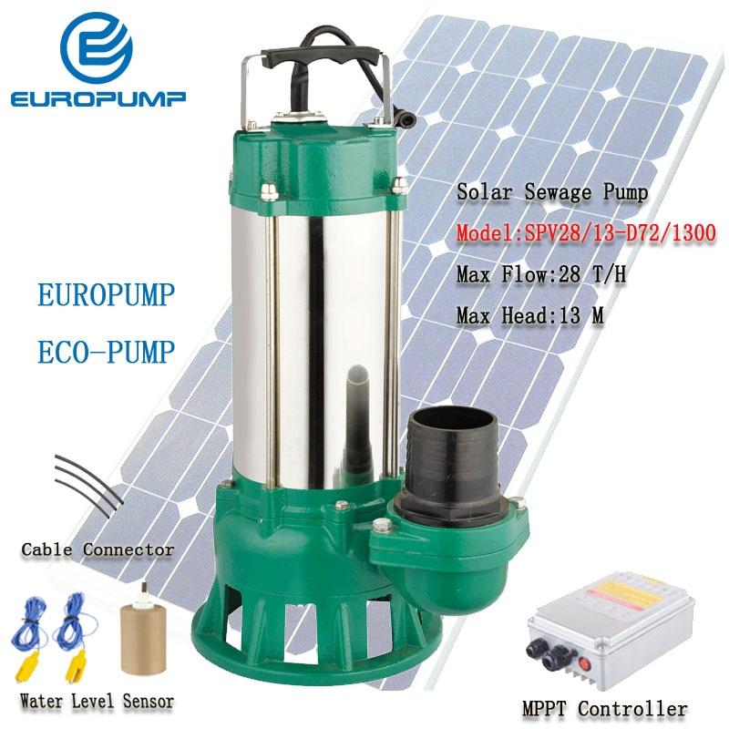 EUROPUMP солнечный насос DC солнечный насос для сточных вод 1300 Вт максимальный поток 9000 л/ч Лифт 27 м солнечная модель насоса Slush (SPV28/13-D72/1300)