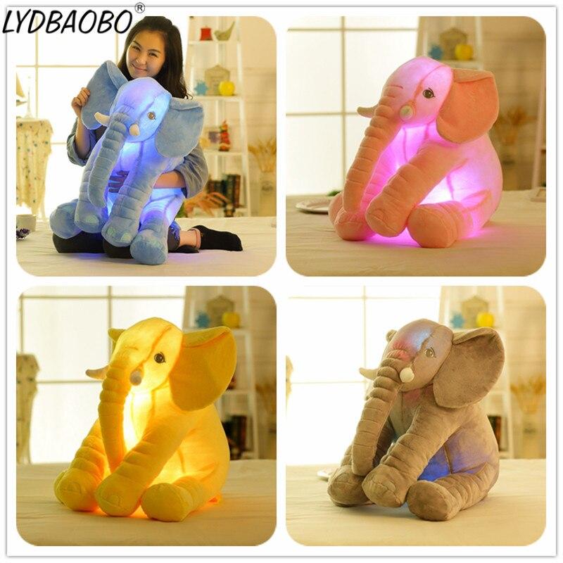 1 unidad 50 CM, envío directo, Led suave apaciguamiento infantil, elefante luminoso, muñeco tranquilo, juguetes para bebé, almohada de elefante, juguete de felpa, regalo para chico