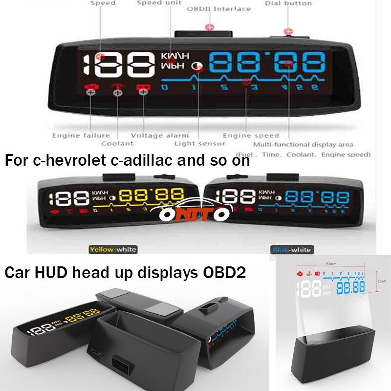 Envío Gratis universal 1 Uds 4F pantalla frontal de coche HUD OBD2 velocidad/temperatura del agua/consumo de combustible/pantalla automática de voltaje