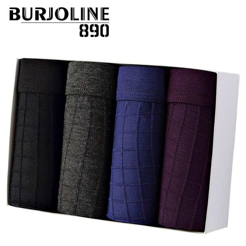 BURJOLINE890 ropa interior de hombre Jacquard a cuadros transpirable de cintura media comodidad para hombre bóxer Shorts hombre Modal bragas R9906