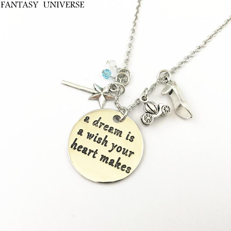 FANTASY UNIVERSE Cinderella necklaces Cosplay High Quality Kawaii magic stick High heels Metal Fashion Jewelry Woman/Boy Gift