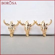 BOROSA 5 pcs 롱혼 수지 경적 소 펜던트, 황소 전체 골드 컬러 베젤 G0843