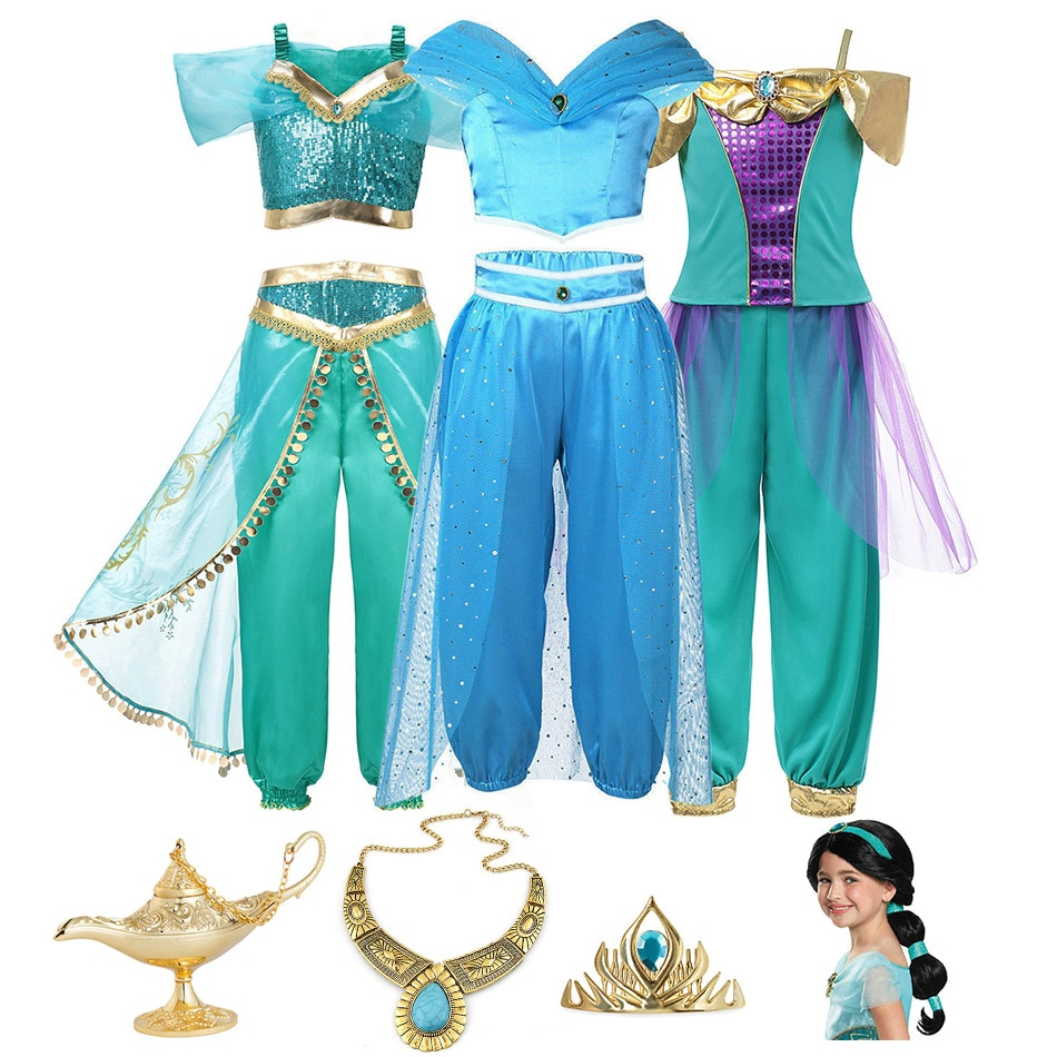 Movie Aladdin Cosplay Princess Jasmine Costume for Girls Fancy Jasmine Tops and Pants Clothing Set Kid Arabian Belly Dance Dress