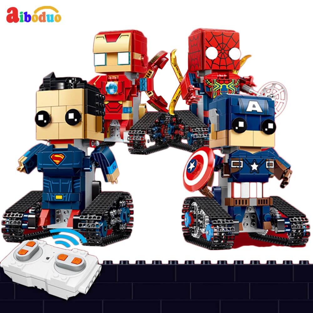 Nuevo 2,4G RC Robot DIY montado Rc Plaza eléctrico Robot 358 unids/set para niños modelo Mini Robot inteligente batalla juguetes niños regalos
