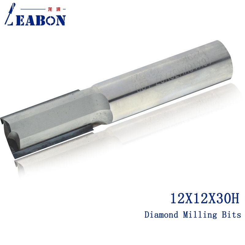 LEABON 12*12*30 H fraise à CNC droite diamant/fraise à CNC/fraise à bois, pour bois, MDF, contreplaqué
