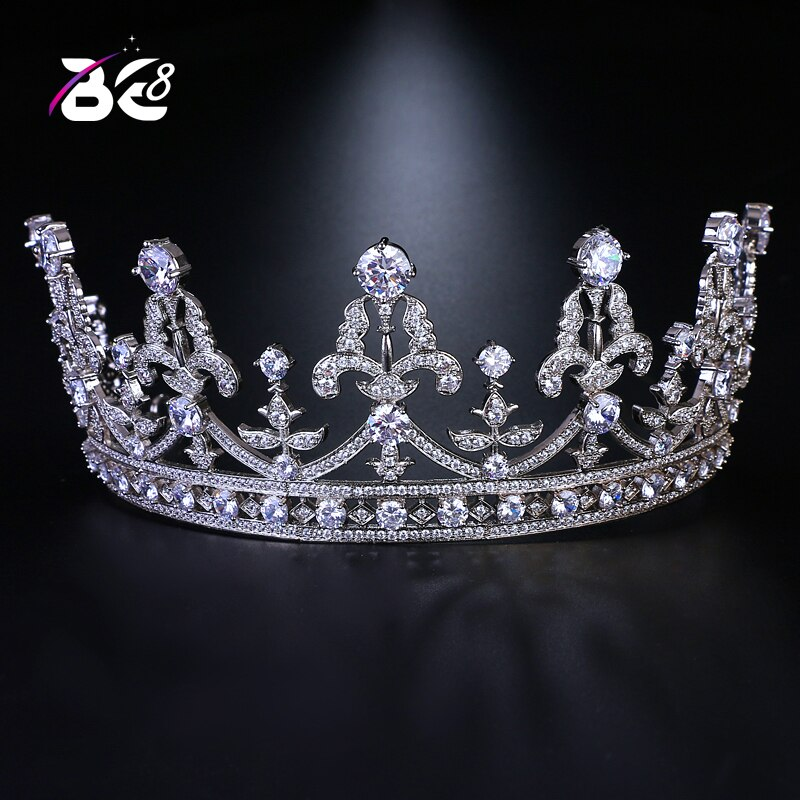Accesorios para el cabello de boda Vintage de lujo Be 8 corona nupcial grande y Tiara reina rey corona Color blanco para mujeres H140