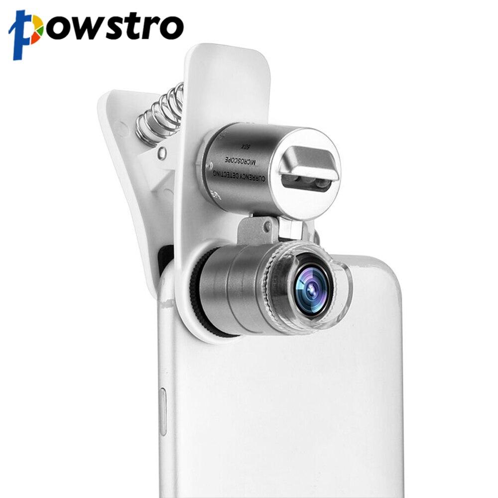 Microscopio Universal para teléfono móvil, Macro lente 60X Zoom óptico, lupa Micro Cámara, Clip LED, lentes para iPhone SE 5S 6S Plus