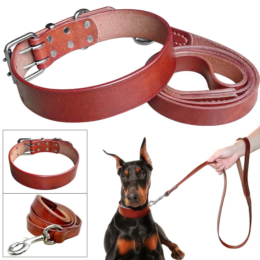 Collar y correa de perro de cuero genuino suave de lujo para perros pequeños medianos grandes Color marrón ajustable