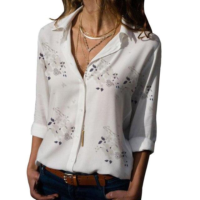 Long Sleeve Women Blouses 2020 Plus Size Turn-down Collar Blouse Shirt Casual Tops Elegant Work Wear Chiffon Shirts 5XL 4