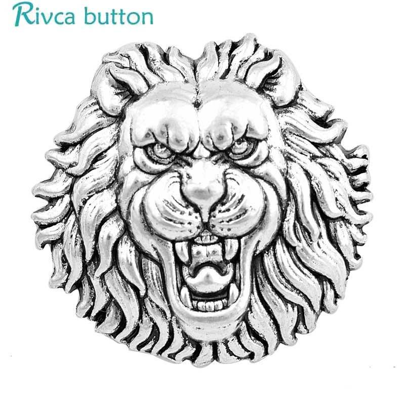 Rivca broche de jengibre botón joyería DIY18mm flor Rana Lobo tortuga Botón Ajuste encanto aleación y cuero pulsera de moda joyería