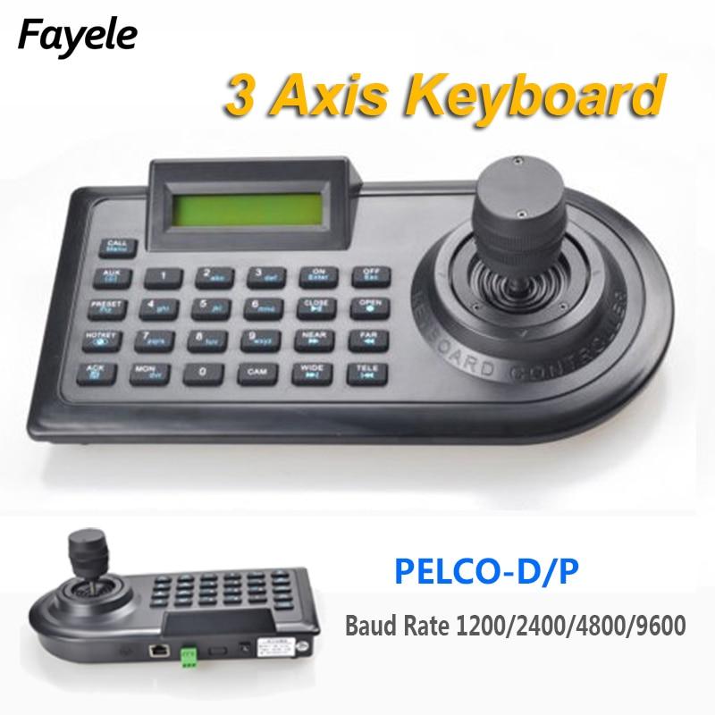 Безопасность 3D 3-осевой PTZ Джойстик PTZ контроллер клавиатура RS485 PELCO-D/P ЖК-дисплей для аналогового видеонаблюдения скорость купол панорамиров...