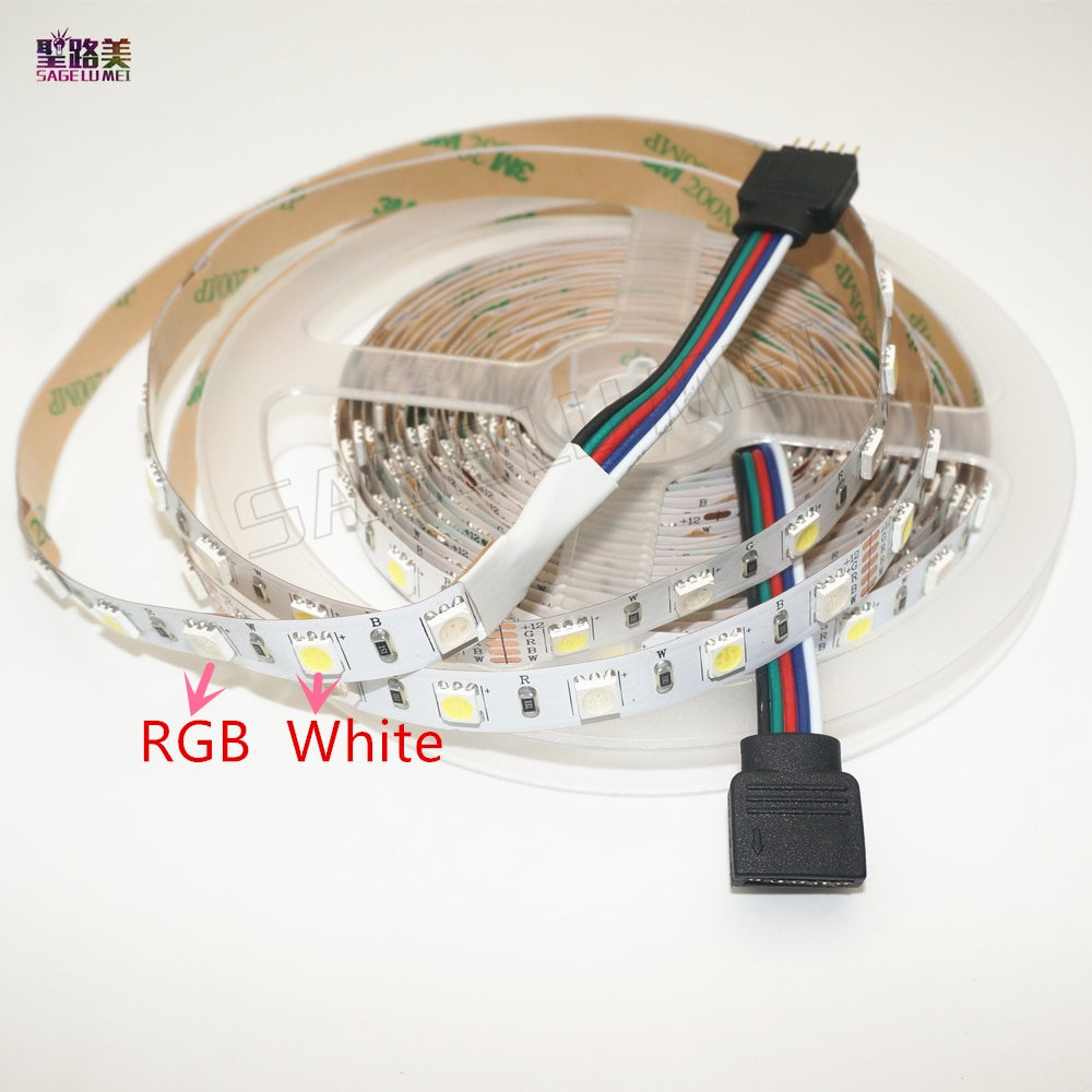 5M/roll DC12V 60led s/m SMD5050 couleur mélangée RGBW RGB + (blanc chaud/froid) RGBWW RGBCW LED bande 5pin IP30/IP67 300 LED s/roll