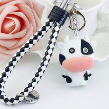 Son lumière porte-clés lampes de poche porte-clés jouets poupée animale vache LED porte-clés en cuir corde bébé aime anniversaire Souvenir cadeau