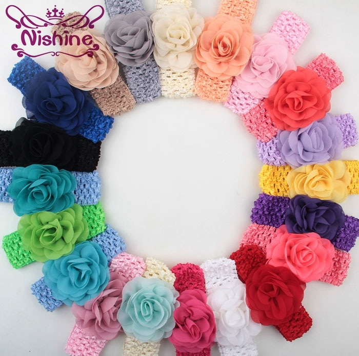 Детские вязаные крючком головные повязки Nishine для девочек с шифоновыми цветами, шикарные детские головные уборы, аксессуары для волос