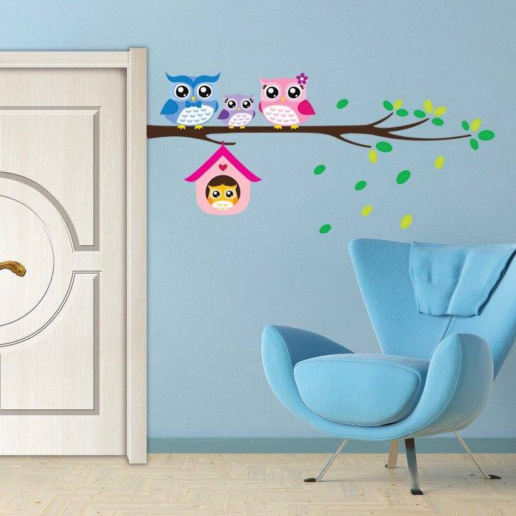 Creativo extraíble impermeable de dibujos animados de animales adhesivo para pared buho para habitaciones de niños casa interior decoración de la habitación de niños decoración de la