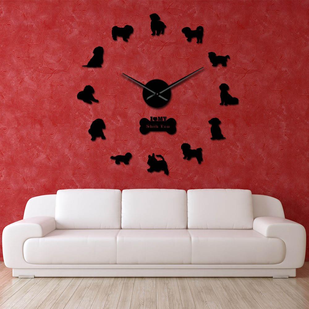 Reloj de pared Shih Tzu de gran tamaño DIY efecto espejo exclusivo cachorro corte láser hecho a mano Reloj de pared Auto adhesivo decoración del hogar