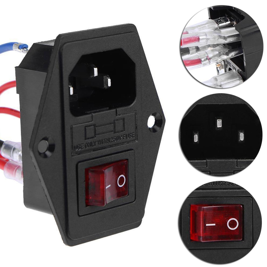 Mayitr 1pc 220 V/110 V triple enchufe hembra 10A Universal de plástico interruptor de suministro de energía con fusible para 3D impresora
