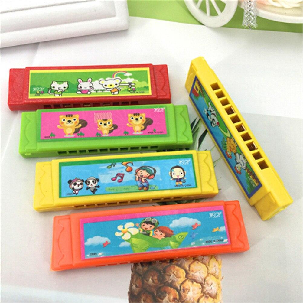 Crianças Brinquedo de Madeira Aprendizagem Precoce Educacional Música de Gaita de Plástico Divertido Duplo Row 16 Buracos Brinquedo Musical Gaita Cor Aleatória