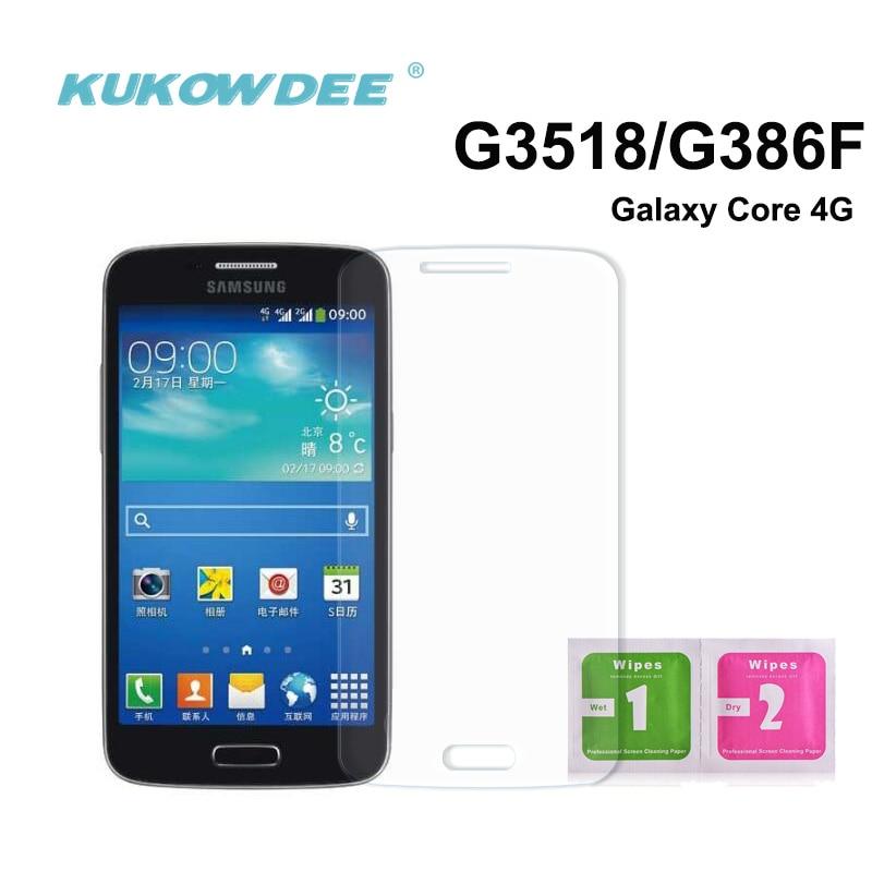 Protector de pantalla de vidrio transparente de 2 piezas para Samsung Core 4G G386F G3518 G3568 película de lámina de vidrio templado
