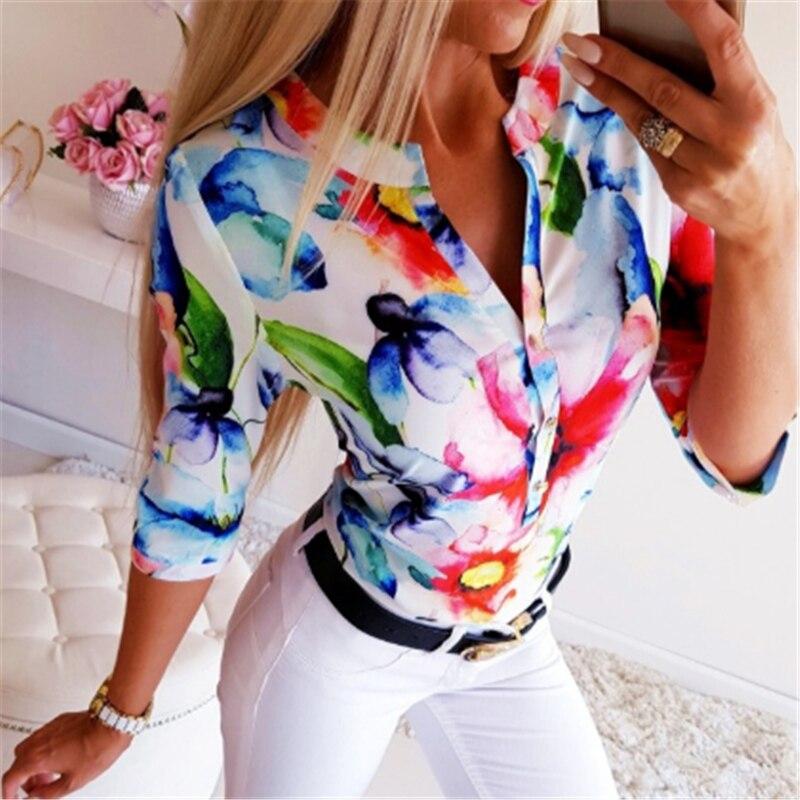 Blusa roja azul o naranja con flores para mujer, blusa sexi de Otoño de media manga con botones para oficina, blusa Ropa de Trabajo para mujer, blusa de talla grande