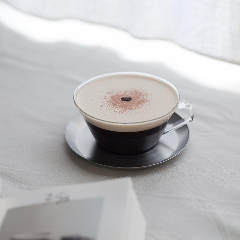 Японский простой прозрачный термостойкий стеклянный набор чашек для чая и молока с чашкой для кофе из нержавеющей стали
