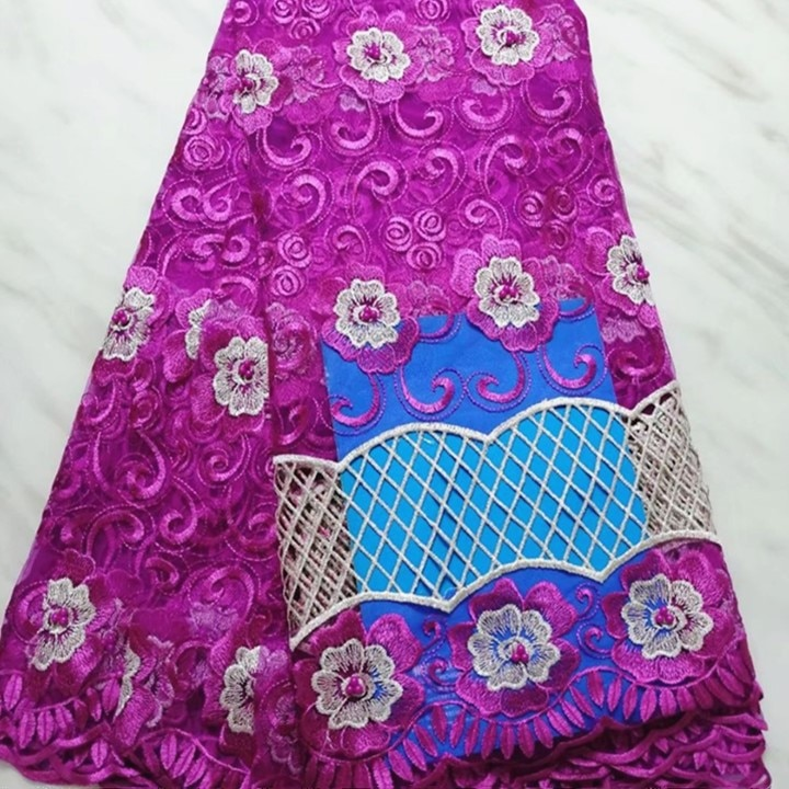 5 metros/pc venda Quente magenta coração padrão de bordado com miçangas africano renda líquida francês tecido de malha de renda para vestido BN127-2