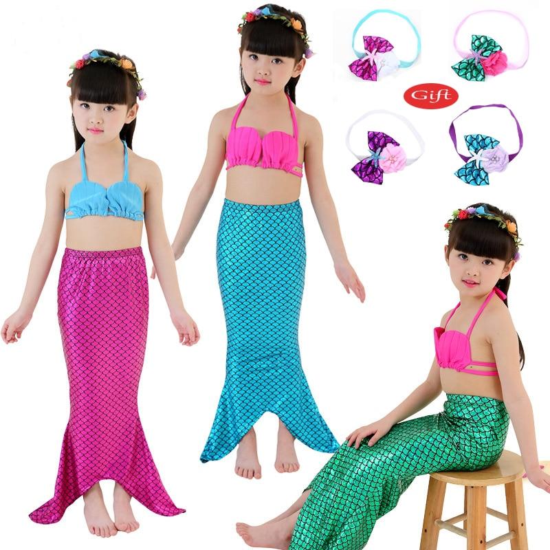 Meerjungfrau Schwanz kinder Kostüm Cosplay Prinzessin Ariel Baby Mädchen Maid Tails Phantasie Kleid Swimmable Bikini Set Badeanzug Neue
