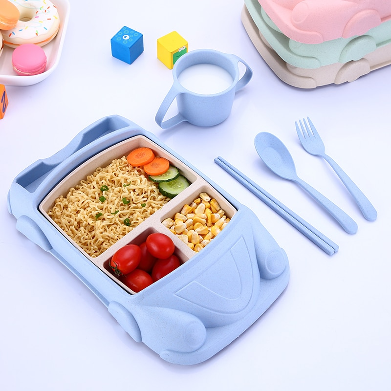 6pcs Baby Food Containers Bamboo Fiber Infant training dishes Baby feeding Set Car shape Bowl Cup Plates Sets Children Tableware