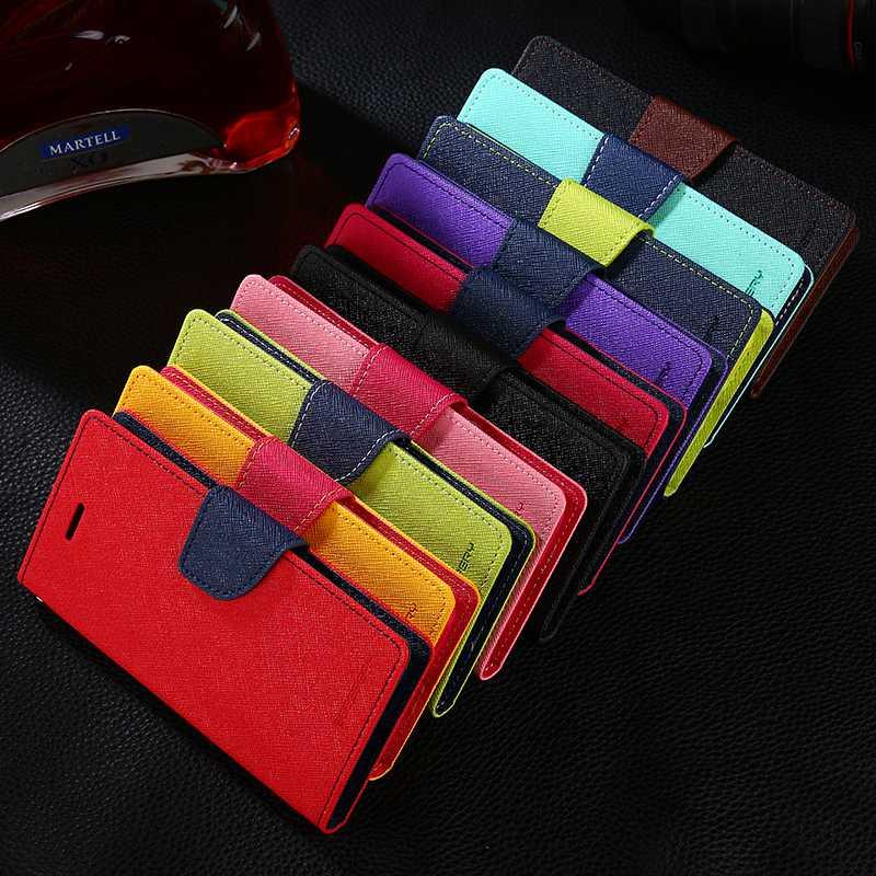 Original funda de doble Color de cuero Flip funda billetera para iPhone 11 Pro XS Max XR 8X8 7 6 6s Plus 5S teléfono bolsas