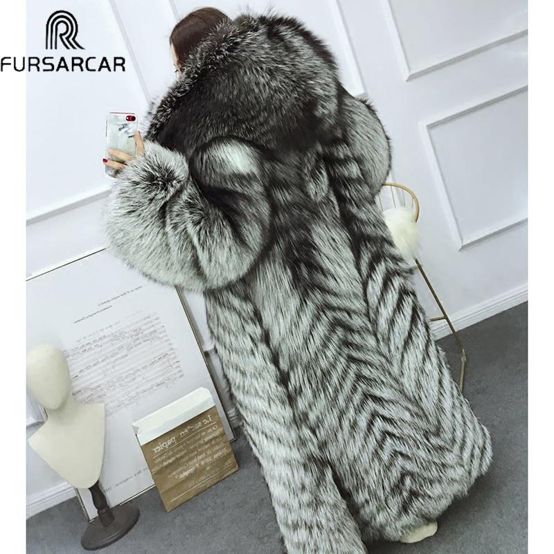 FURSARCAR Whole Skin Russian Silver Fox Fur Coats Women Super Luxury 120cm Long Fox Real Fur Winter Overcoats Customize Outwear