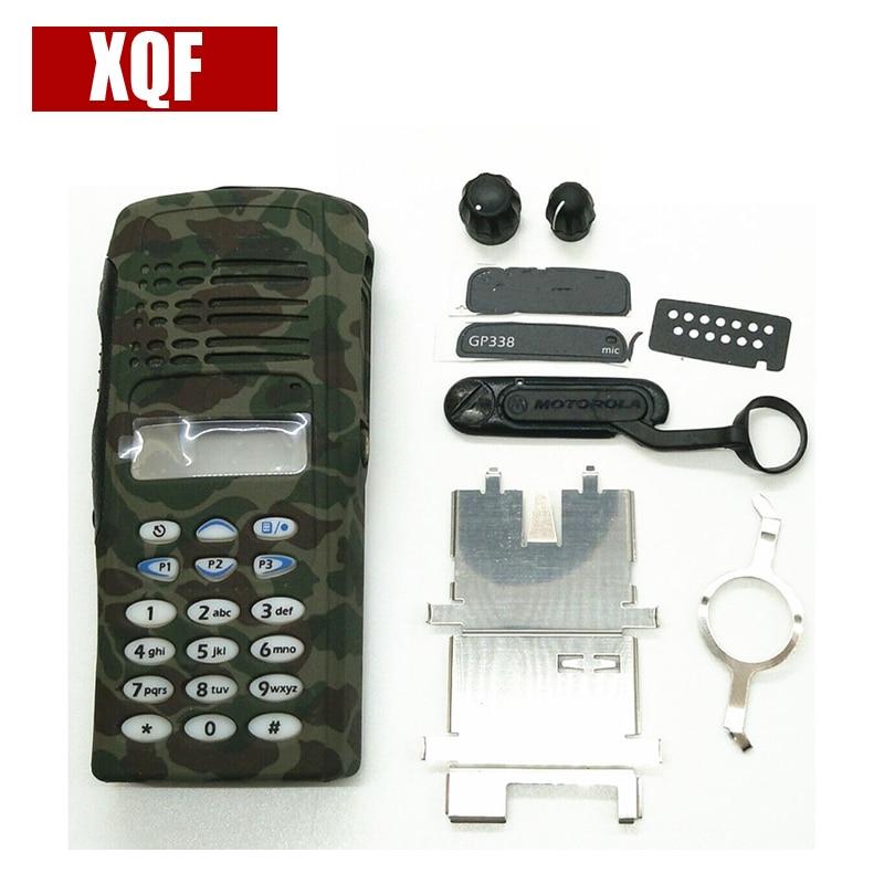 Xqf camuflagem completa peças de serviço rádio frente caso capa habitação refurb kit para motorola gp338 gp380 ptx760 rádio em dois sentidos