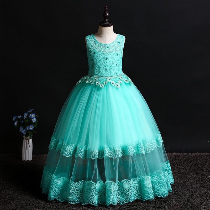 Vestido de flores para niña, Apliques de encaje con cuentas para bebé, vestido de belleza para niños, ropa de primera comunión, vestido de fiesta para niña, ropa de tutú para niños