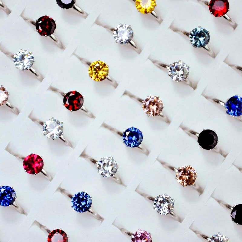 50 Uds Anillos de Compromiso de circonita AAA de 1,2 quilates a la moda para mujeres y niñas, anillo de cristal austríaco para bodas, joyería al por mayor LR4060