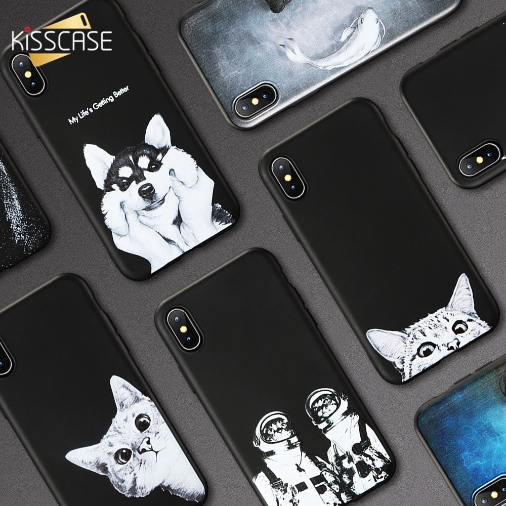 KISSCASE estuche para teléfono suave para iPhone X XS MAX 7 8 estrella casos para iPhone 11 Coque 6S 6 7 8Plus XR 11PRO чехол на айфон 7