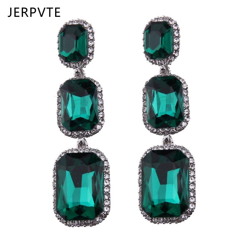 De cristal de lujo de cristal pendientes largos para mujer declaración geométrica México pendientes de joyería de moda rojo verde pendientes 2020 nuevo