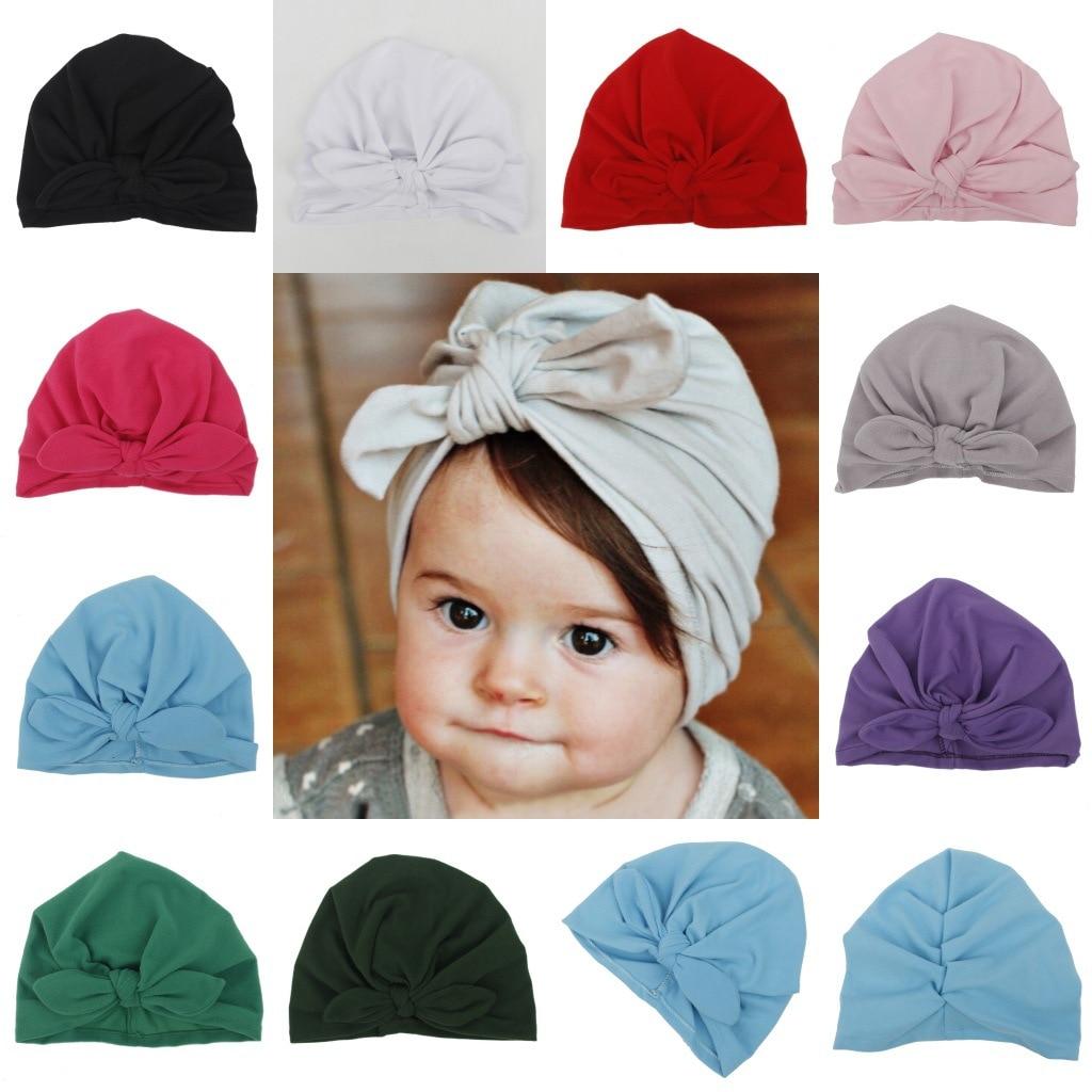 Moda 2020, gorros para bebés, niñas, niños, Europa, orejas de conejo, Nudo sólido, gorro de la India, gorros, gorros, sombreros de arco infantil