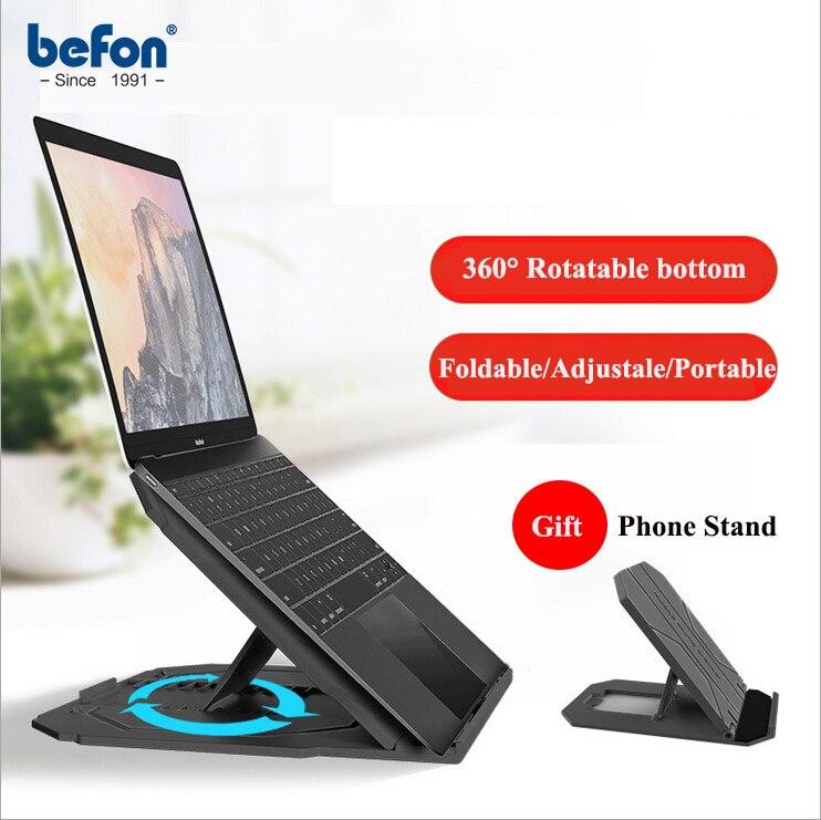 Befon Portable pliable réglable pliable bureau bureau support dordinateur Portable avec rotatif bas ordinateur Portable tablette se dresse support