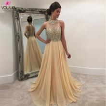 Apricot Summer Hot Women Lady Formal Dress Long Evening Party Ball Gown Ladies Sequined Shinny Halter Dresses Vestidos De Festa