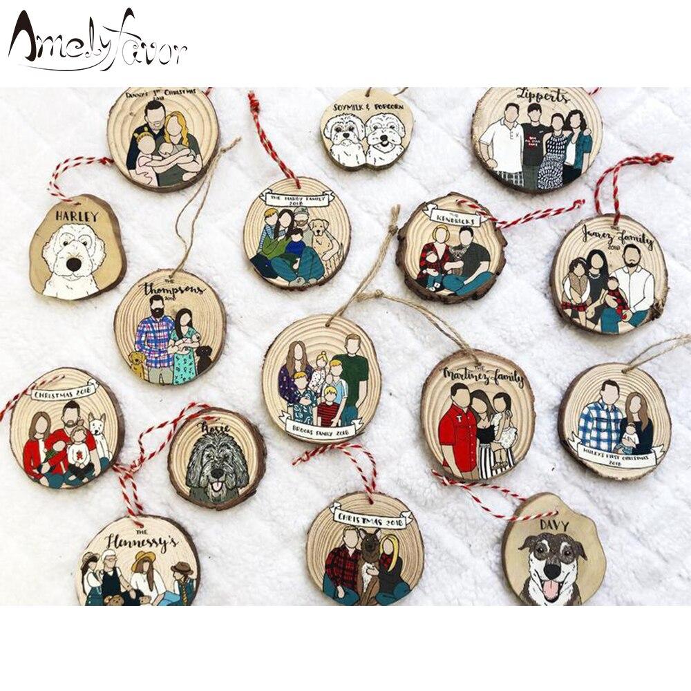 Семейный орнамент, домашние животные, мультяшный портрет, домашние украшения, принадлежности, персонализированные юбилейные украшения, по...