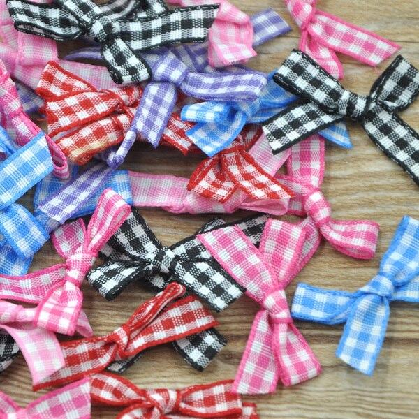50 piezas de cinta de Gingham flores lazos muñeca lotes a granel boda Dec apliques A224