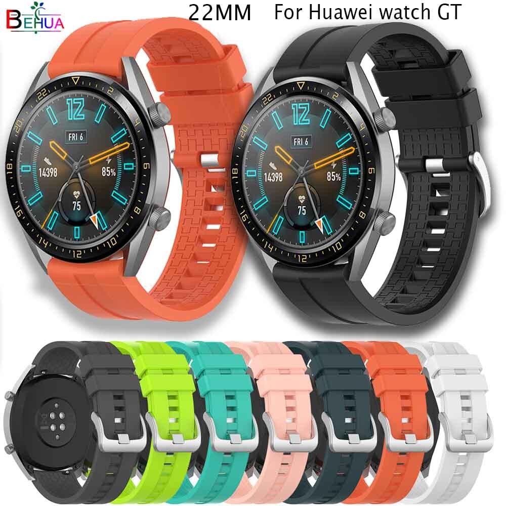 Sport Silicone 22mm bracelet de montre pour Huawei montre GT 46mm/actif/gear s3/honneur magique montre intelligente remplacement bracelet accessoires