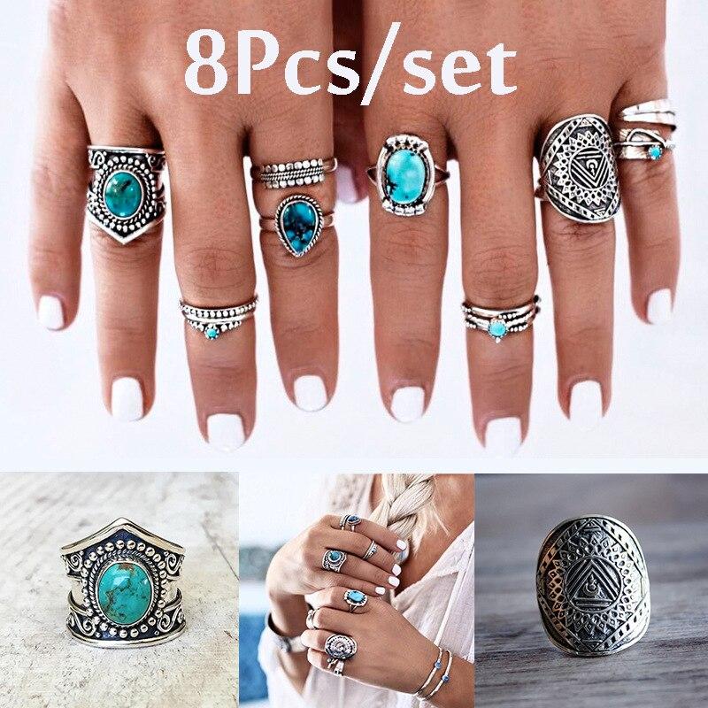 8 unids/set bohemio vintage grabado gema piedra incrustación 8 piezas conjunto anillo protector corona pluma gota de agua anillo de plata antigua