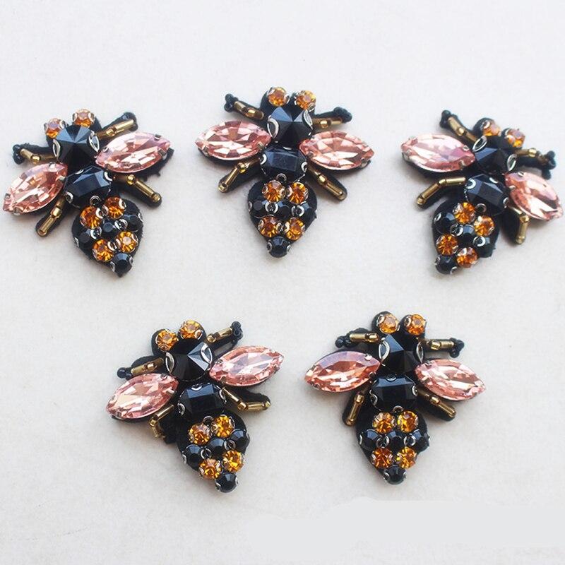 8 шт., 4,3x4 см, Блестящий Бриллиант, сделай сам, черный, розовый, модные пчелы, блестки, стразы, аппликации, нашивки, броши