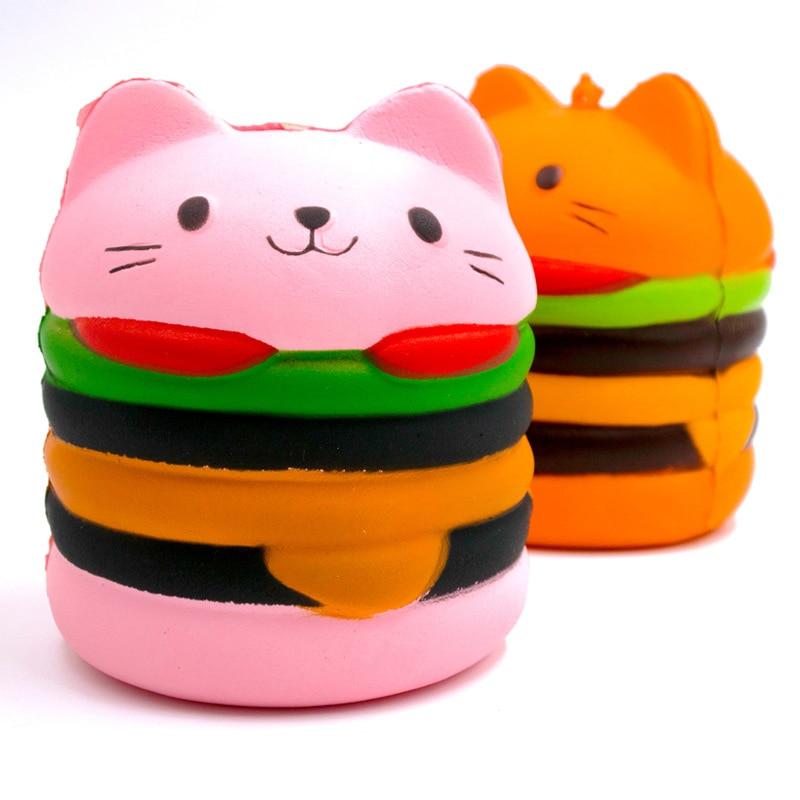 Lindo Squishy Jumbo gato de dibujos animados hamburguesa perfumado lento Rising exquisito chico suave descompresión slime Relax fiesta DIY Decoración