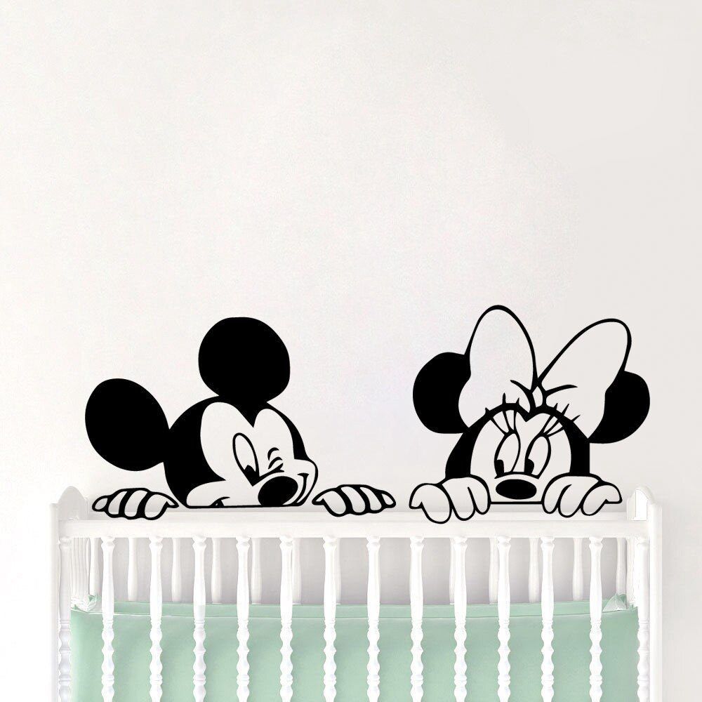Desenhos animados mickey mouse adesivo para paredes decalque da arte da parede minnie vinil adesivos de parede do quarto do bebê adesivos muraux enfant