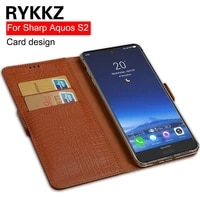 rykkz genuine leather flip cover card for sharp aquos s2 protective stand case leather cover for sharp fs8010 free shipping