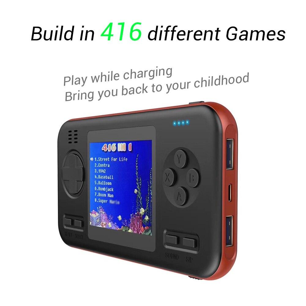 Built-in 416 jogos wth 8000 mah bateria power bank retro vídeo handheld game console 2.8 Polegada cor lcd jogador de jogo